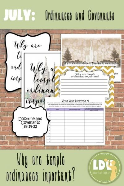Come to LatterdayVillage Red Brick Store for LDS Young Women Lesson Packets!  July Lesson Why are temple ordinances important? - lovely visuals, handouts and activities your girls will love!  Save time and $$!  Only $4.50