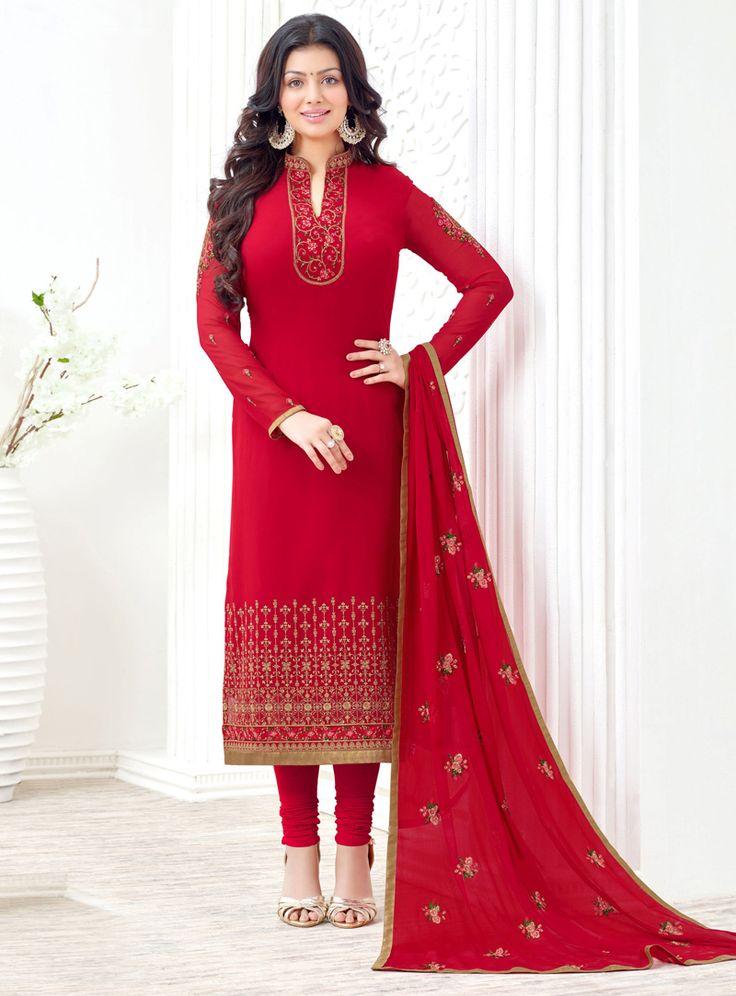 Ayesha Takia Red Georgette Churidar Salwar Suit 95837