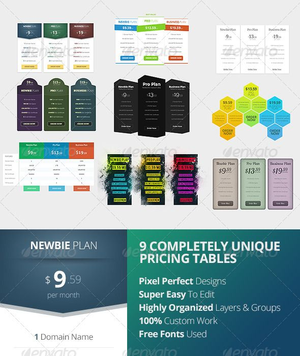 139 best Pricing Tables Templates images on Pinterest Pricing - price chart template