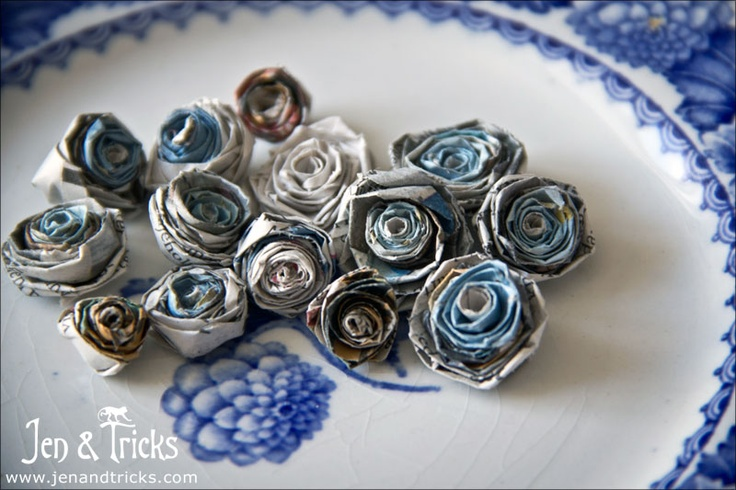 Handmade paper roses from recycled newspaper strips