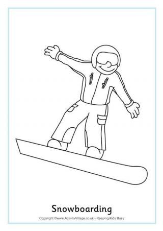 Snowboarding colouring sheet