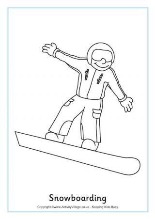 Snowboarding colouring sheet