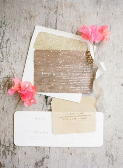 Wooden and gold wedding invitations: http://www.stylemepretty.com/2014/09/11/romantic-cliff-top-wedding-by-the-sea-in-bali/ | Photography: Jemma Keech - http://jemmakeech.com/