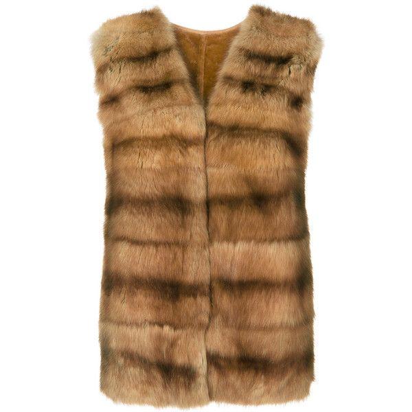 Liska fur front gilet (576,980 INR) ❤ liked on Polyvore featuring outerwear, vests, brown, fur vest, fur waistcoat, brown vest, fur gilet and liska