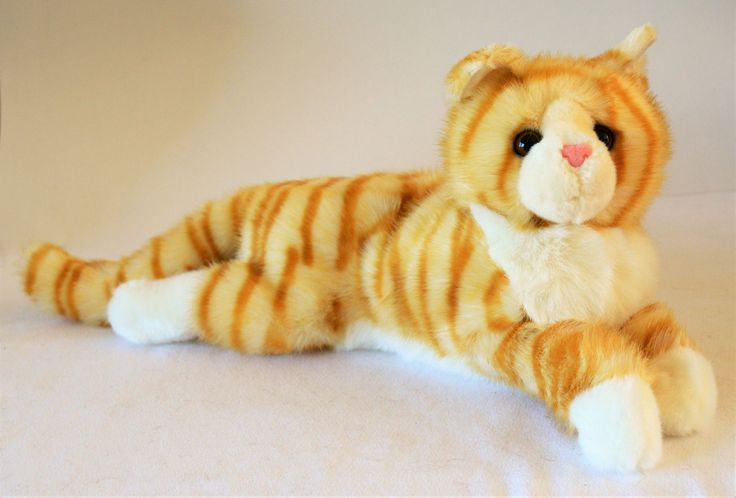 Reclining Orange Tiger Striped Cat for People with Alzheimer's and Caregivers