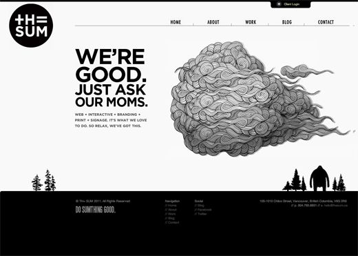 Awesome example of black and white website