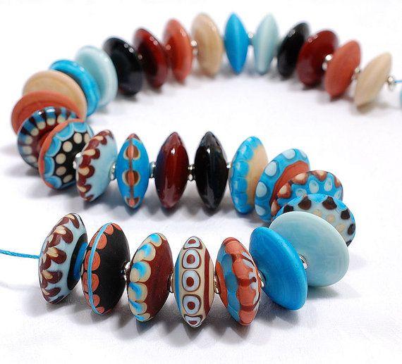 clo beads tribal discs in turquoise coral dark red aqua and beige handmade glass artisan lampwork sra