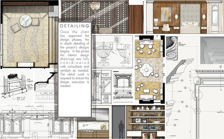 Interior Detailing | Once the client has approved the design phases, the indepth detailing of the project's designs begins. In this phase the interior design drawings are fully coordinated with consultants and vendors as needed. The detail work is required to ensure the design execution is created.