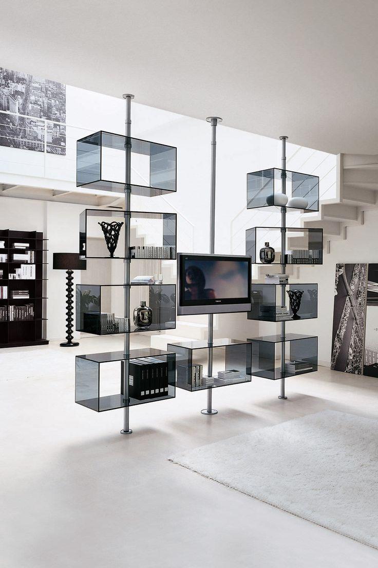 Soporte para TV de pie moderno / de metal DOMINO by T. Colzani Porada