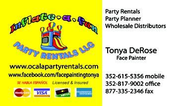 Bounce House, Dunk Take, Face Painting, Cotton Candy, Pop Corn Machines, Snow Cone Maker.  Give us a Call to plan out your next event. Inflate A Fun Party Rentals LLC www.facebook.com/facepaintingtonya Located in Marion County FL