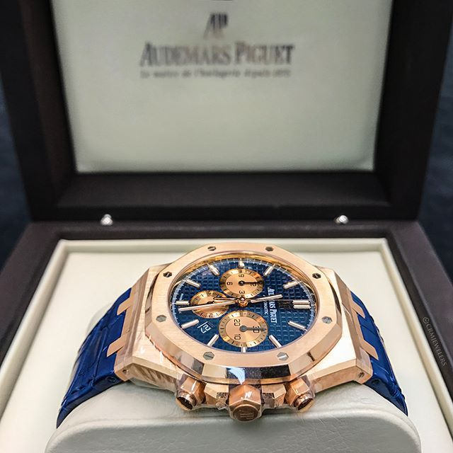 AP Royal Oak Blue Chrono and Blue Strap! Rate this piece below! $34500.00 . . . .