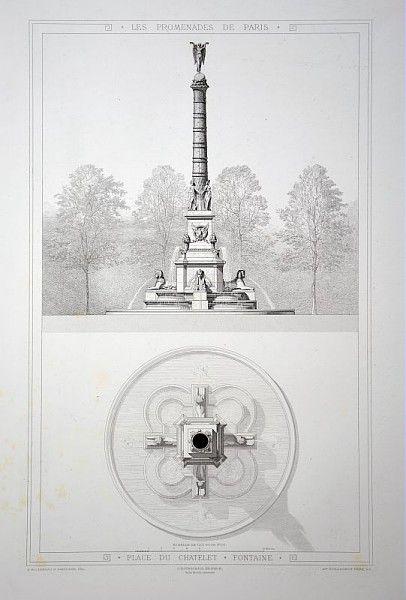 Fontaine de la place du Châtelet par A. Alphand, 1867-1873 /©ENSP-Musée du Vivant-AgroParisTech
