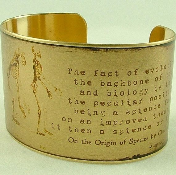 """Charles Darwin """"On The Origin Of Species"""" Cuff   23 Majestically Beautiful Pieces Of Science Jewelry"""