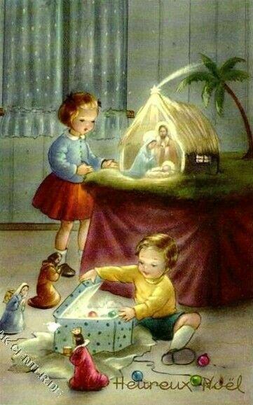 Vintage Crèche Christmas Card