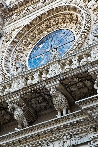 Baroque details of the Basilica di Santa Croce (Church of the Holy Cross), Lecce, Apulia, Italy  (by Ezio Beschi)