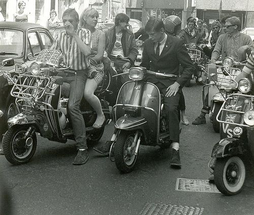 Mods on scooters in Carnaby Street during the filming of 'Steppin' Out'…