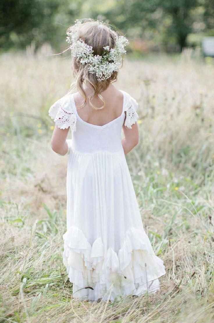 Little Girl White Dresses Modest Boho Lace Wedding Flower Girls Dresses 2015 Scoop Short Sleeves Sheath Kids Formal Birthday Party Wear Beautiful Junior Bridesmaid Little Girls Bridesmaid Dresses From Nameilishawedding, $53.41| Dhgate.Com