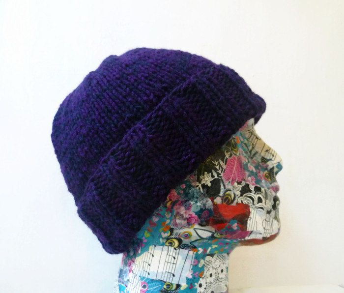 #PromotingWomen Man Beanie Hat, Mens Hand Knitted Watchman Cap, Purple Black Acrylic Beanie Hat, ClickClackKnits by Clickclackknits on Etsy