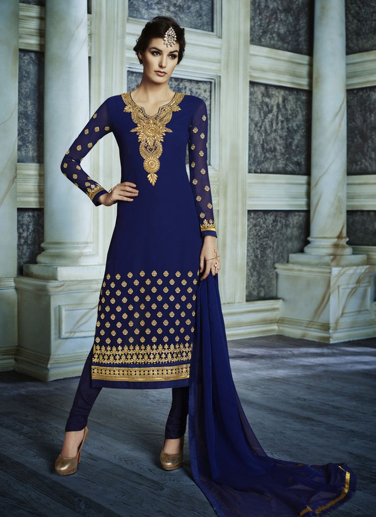 Straight Cut Style Blue with Crystals Stones Work Astounding Unstitched Salwar Kameez