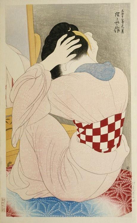 Mujer en undersash Autor: Itō Shinsui (Japanese, 1898-1972) Fecha: 1921 Medio: Color de grabado en madera Ubicación: Galerías Freer y Sackler, Museos de Arte Asiático del Smithsonian