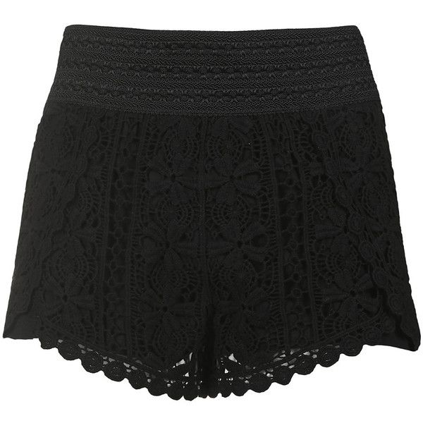 TopShop Scallop Crochet Shorts ($36) ❤ liked on Polyvore featuring shorts, bottoms, black, crochet shorts, elastic waistband shorts, topshop, cotton elastic waist shorts and scallop hem shorts