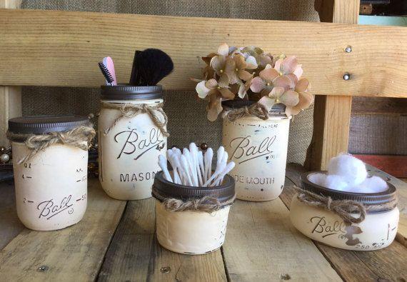 Cosmetic Organization Mason Jar Set Flower door VintageDaisyHome