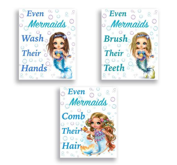 Mermaid Bathroom Decor Wash Your Hands Brush Your Teeth Comb Your