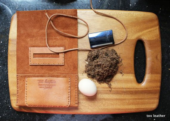 Leather tobacco pouch 3 fold tobacco case with free by toxleather