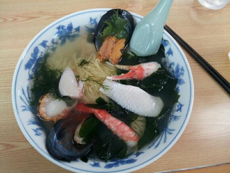 GWに食べた野田村役場隣の仮設店舗で食べた海鮮ラーメン。美味しかった。