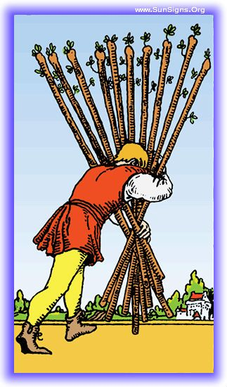 The Ten of Wands represents the traveler bearing the last of his burdens. It is large, and almost more than he can bear. This tarot card represents the end of a cycle within the Minor Arcana of the Tarot, and thus the end of a journey.