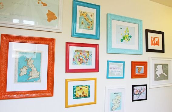 Frame your favorite places and create a gallery style wall with them.