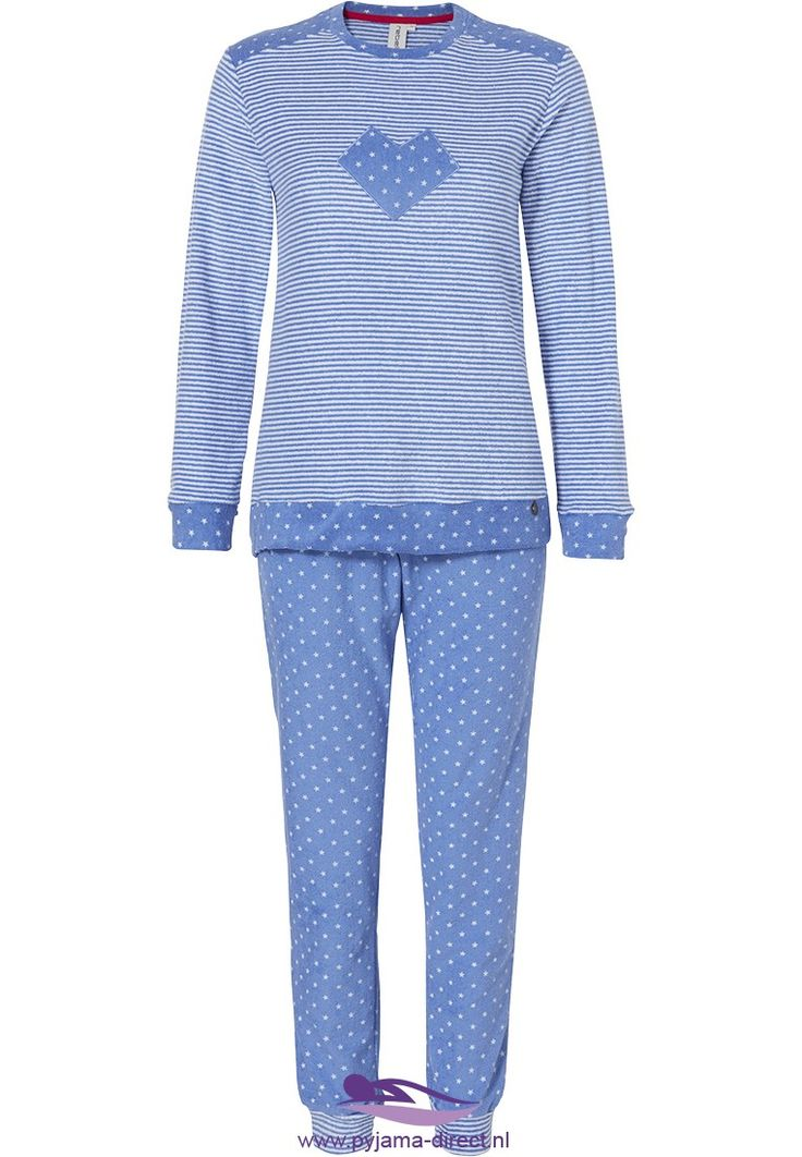 Be on trend with this blue and white 'modern heart & little stars' Rebelle terry pyjama set with stripes