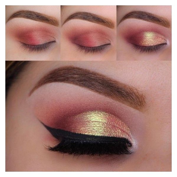 Beautiful Ways to Wear Red Eyeshadow ❤ liked on Polyvore featuring beauty products, makeup, eye makeup and eyeshadow