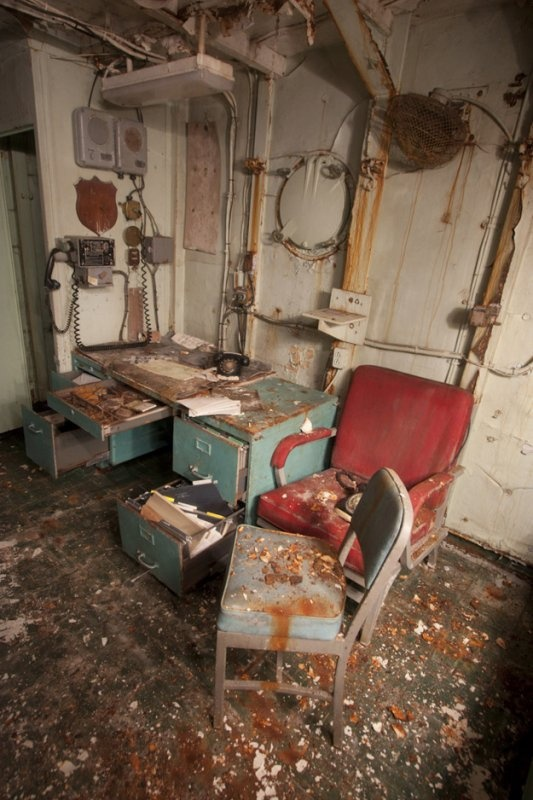 Inside an abandoned Navy ship.
