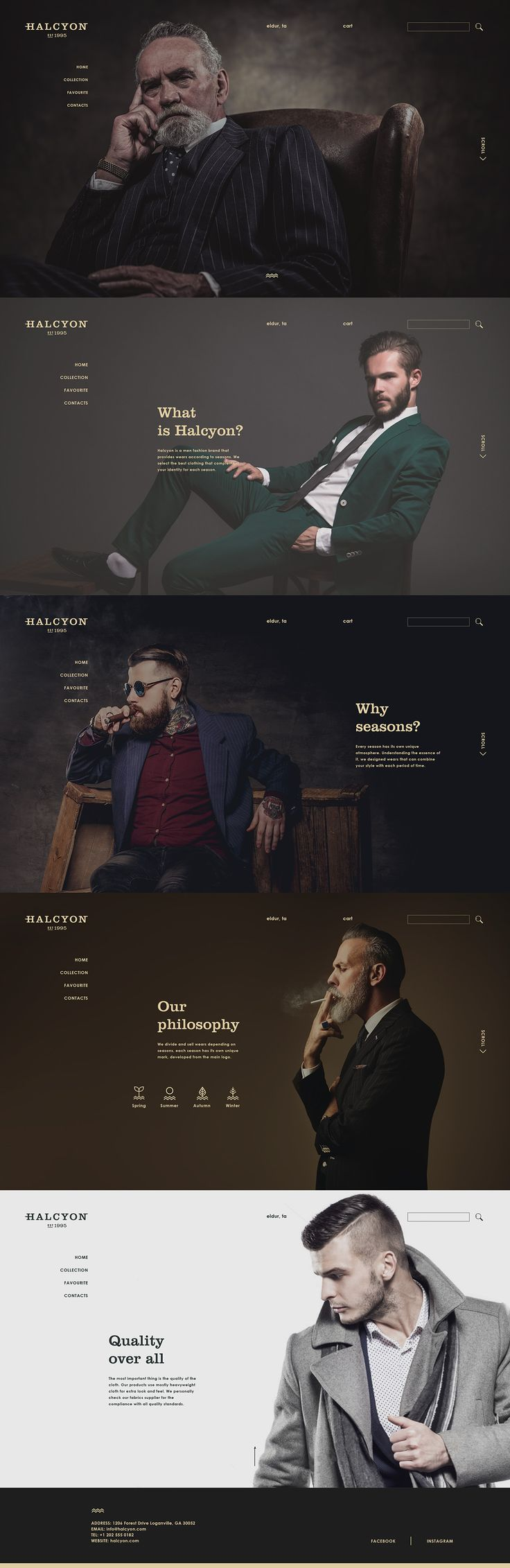 A brand identity, website design for Halcyon - a men fashion brand that specializes in suits for men. The goal is to create a modern, minimal look but also evoke the classy feel.