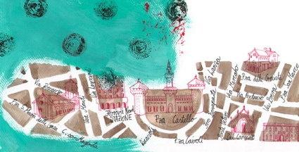 Map of Milan, hand drawn. City Map von Mailand, von Hand gezeichnet.