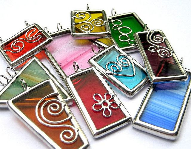 Stained glass pendants - scrap glass project