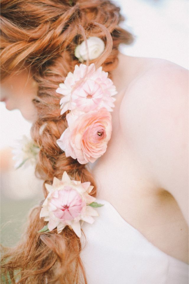 Flower adorned braid | Jenny Sun Photography | http://burnettsboards.com/2014/01/enchanted-garden-editorial/