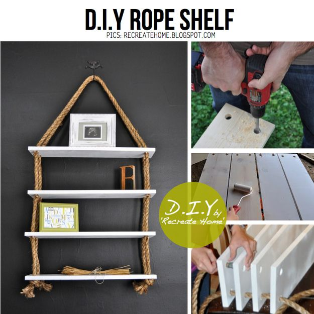 Rope Bookshelf | 25 Awesome DIY Ideas For Bookshelves
