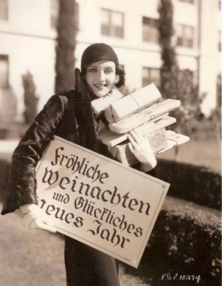 """Carole Lombard - Christmas 1930's  """"Merry Christmas and Happy New Year"""" in German"""