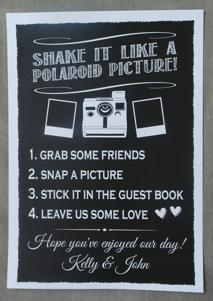 PERSONALISED chalkboard style wedding POLAROID GUEST BOOK sign POSTER print | eBay