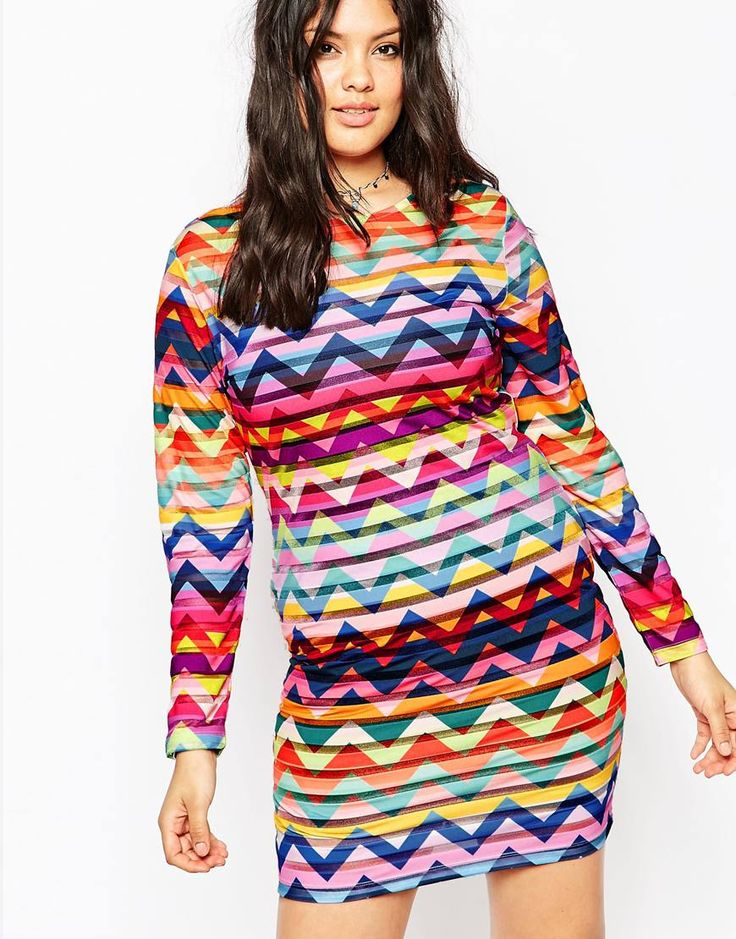 ASOS CURVE Festival Dress in Chevron Print
