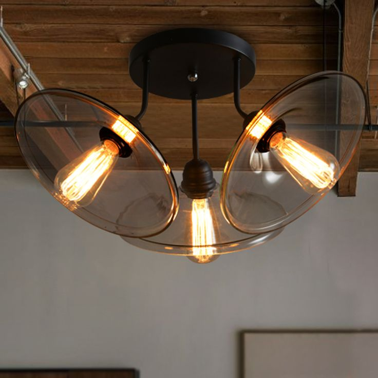 Retro Industrial Glass Iron Ceiling Light Three Arms
