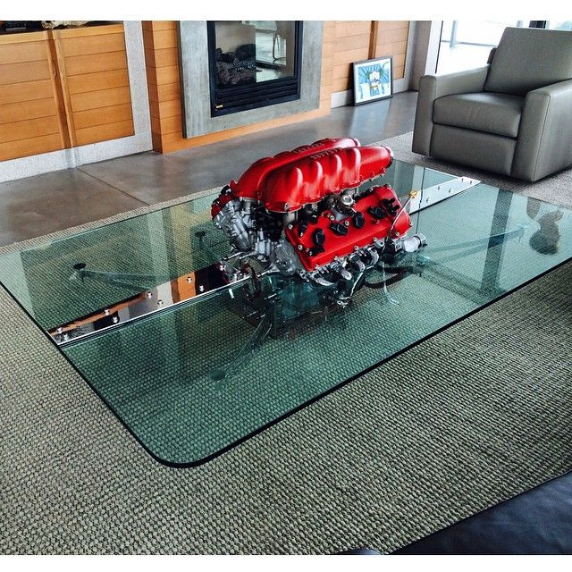 V8 Engine Glass Table: My Engine Tables And Desks (Ferrari, Lamborghini, Maserati