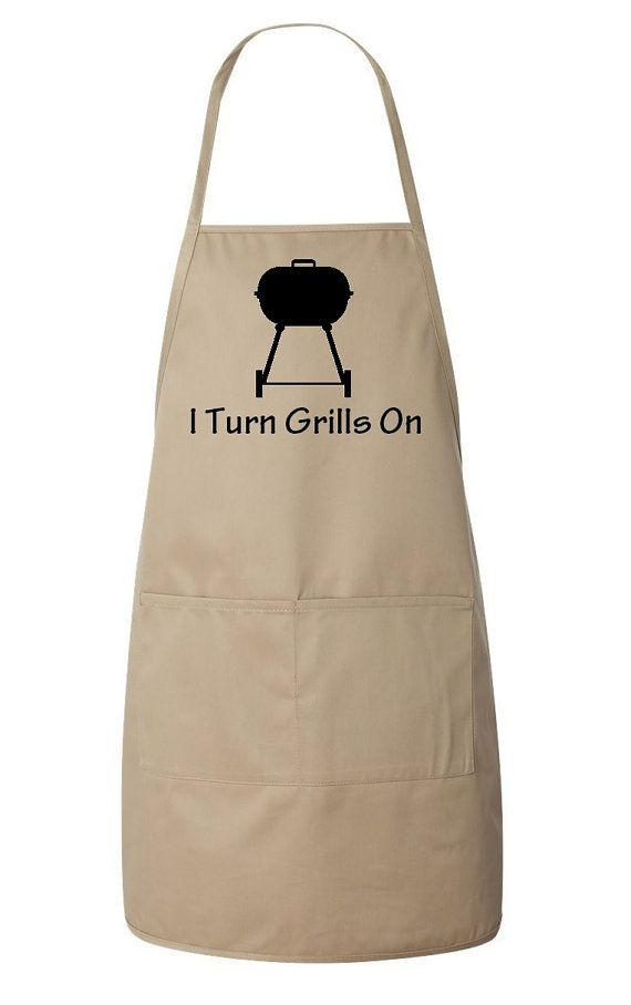 I Turn Grills On Men's Apron Funny Father's Day Gift Idea Father Dad Grandfather - Tan and Black