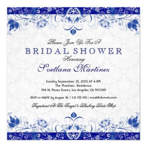 royal blue u0026 white damask bridal shower invitation