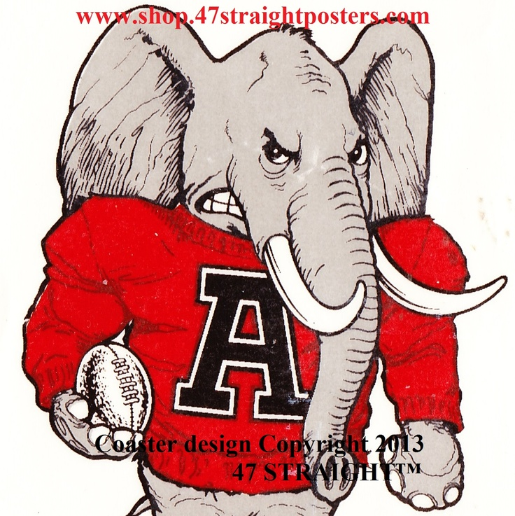 Alabama Crimson Tide Father's Day gifts from 47 STRAIGHT.™ Father's Day gifts under $40. Best Father's Day gifts for college football fans. Ceramic drink coasters and ROW 1™ Tees printed in the U.S.A.. Football gifts made from over 2,000 historic college football tickets and other vintage college football art. #alabama #fathersdaygifts #football #47straight  This coaster set will be available soon.