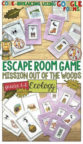 A fun Ecology/Ecosystems review game! Your students imagine that they have found themselves lost in the wilderness without their gear and the threat of sundown approaching. They must prove their understanding about ecological concepts and follow the clues 'through the woods', crack the Google Form codes, and make their way to the campground for safety!