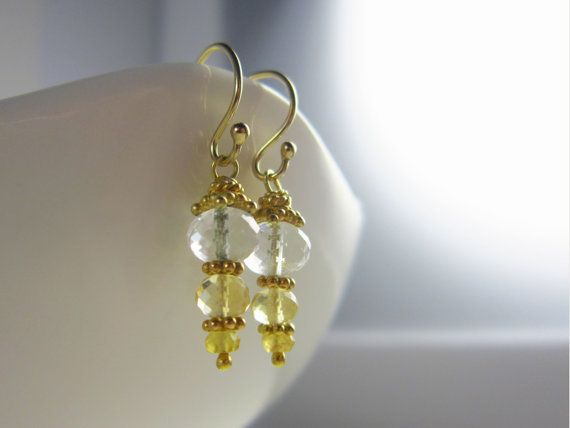 Clear Quartz Earrings Yellow Jewelry