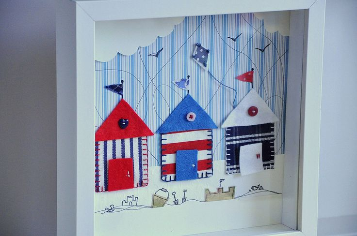 Personalized kids wall art - Free UK shipping - Beach huts appliqué - Nautical stripes. $65.00, via Etsy.